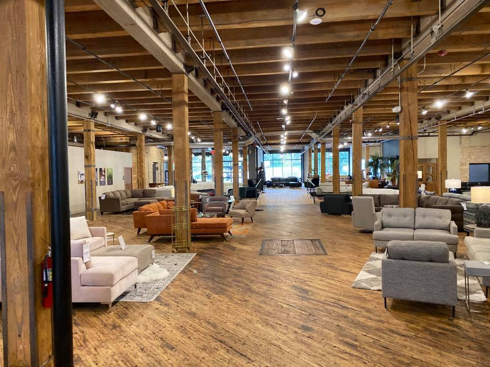 Bachman Furniture's new showroom, featuring lighting from BBC Lighting - Interior