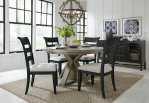2021 Dining Room with Round Table - Indigo Chairs