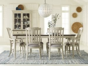 2041 Dining Room with Vintage Linen Finish Ladder Back Chairs